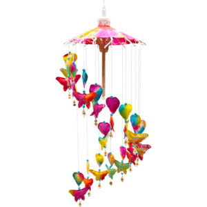 Rainbow Butterfly Mobile Decoration with Hearts