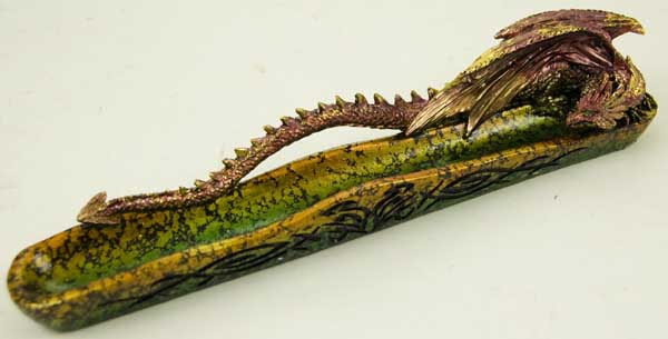 Incense Stick Holder Dragon Green Red