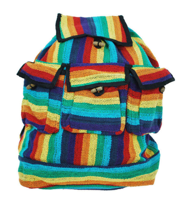 Rainbow Rucksack Bag with Toggles