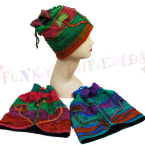 Dreadlock Hats with Mushrooms Green Red Purple