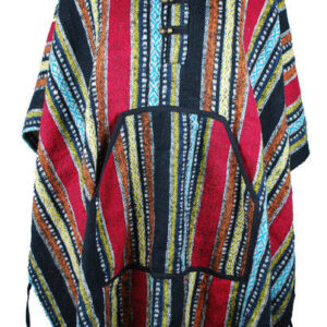 Poncho Brushed Cotton with Tassles Red Black
