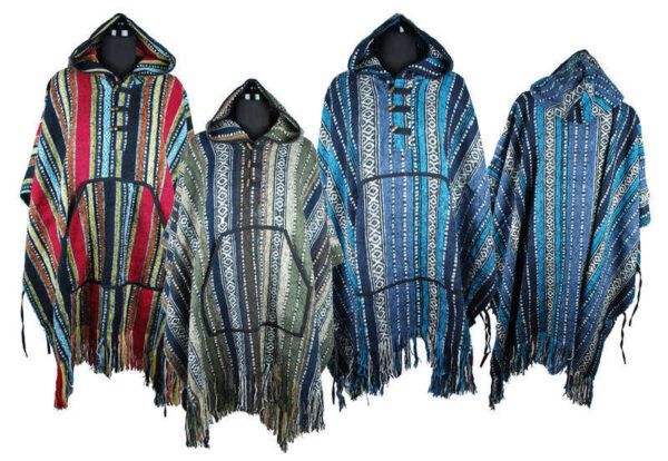 Poncho Brushed Cotton with Tassles Red Grey Blue