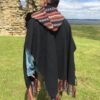 Brushed Cotton Nepalese Poncho with Hood Black