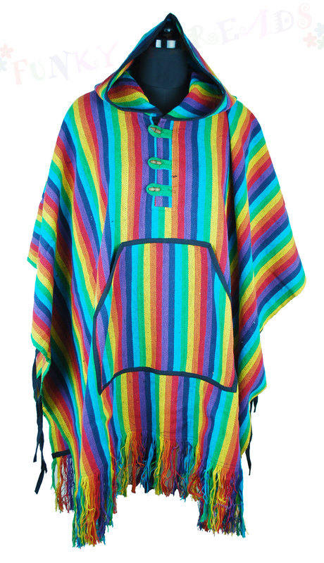 Poncho Rainbow with Tassles and Hood