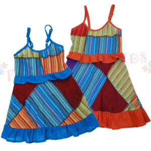 Children Dress Blue Orange
