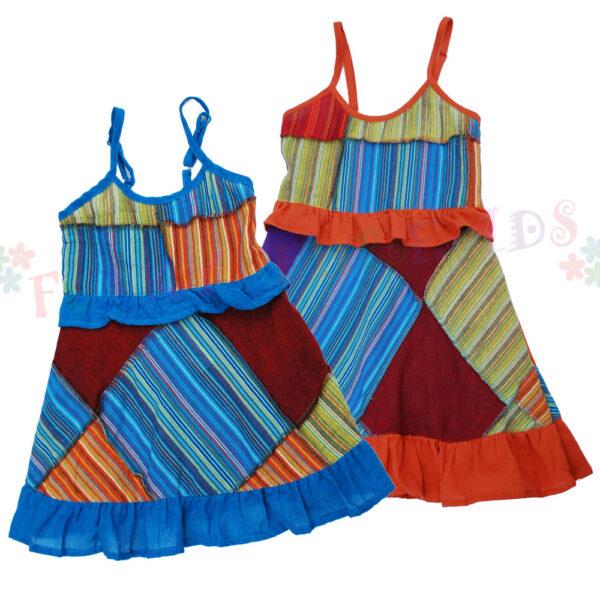 Children Dress Blue Orange