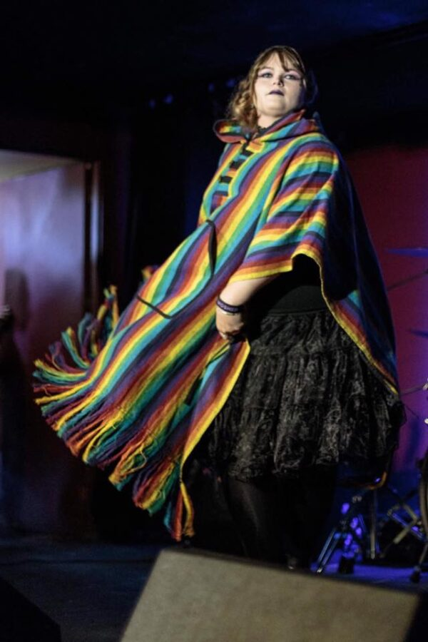 Rainbow Poncho Brushed Cotton Multi Coloured Fair Trade
