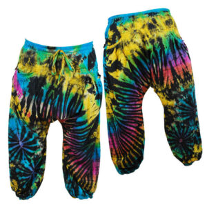 Harem Pants Trousers Tie Dye Hippy Yellow Pink Black