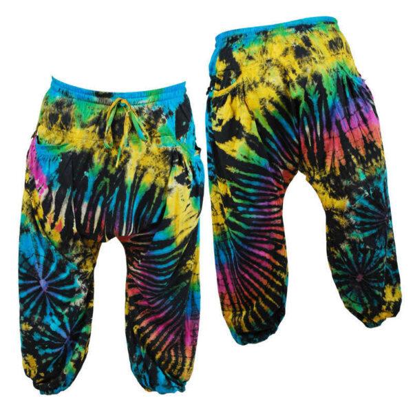Harem Pants Trousers Tie Dye Hippy Yellow Pink Black