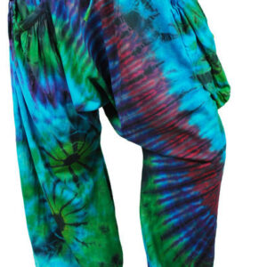 Harem Pants Trousers Tie Dye Hippy Blue Green Purple