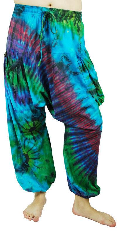 Harem Pants Trousers Tie Dye Hippy Blue Green Purple