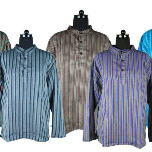 Stripy Shirt Green Blue Grey Purple