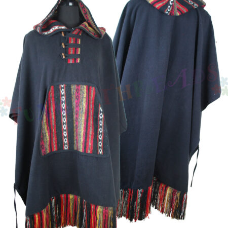 Brushed Cotton Nepalese Poncho with Hood