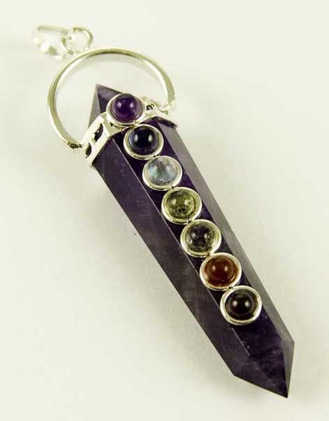 Precious Stone Neckless Point Purple Amethyst