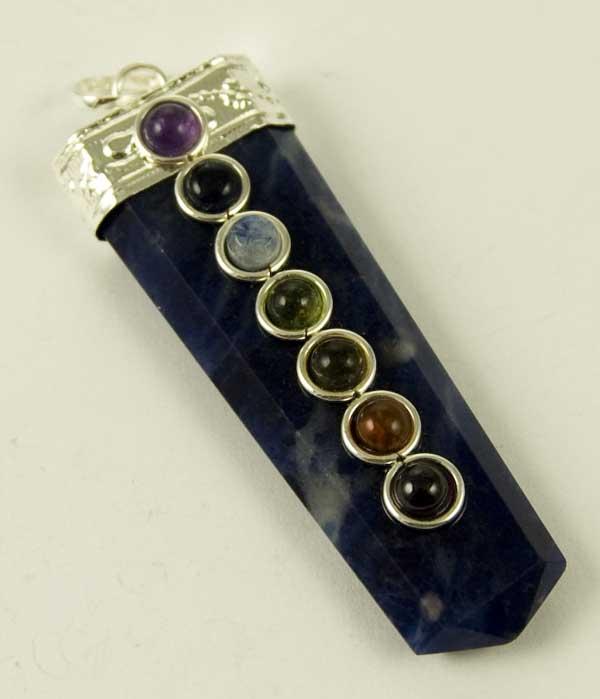 Precious Stone Neckless Point Flat Blue with Chakra Stones
