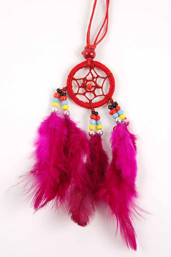 Dream Catcher Neckless with Feathers Red