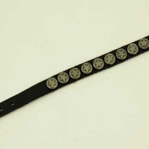 Leather wrist band with stars and buckle