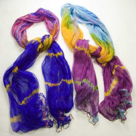 Rainbow Colour Neck Scarf Blue Pink Yellow Purple