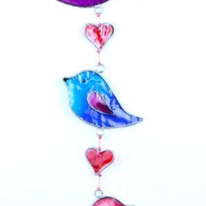 Sun Catcher Birds Rainbow Colours Love Heart