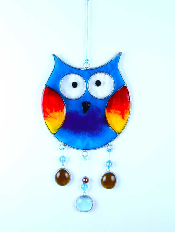 Sun Catcher Owl Blue
