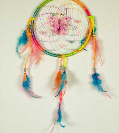 Rainbow Coloured Dream Catcher with Feathers One Circle