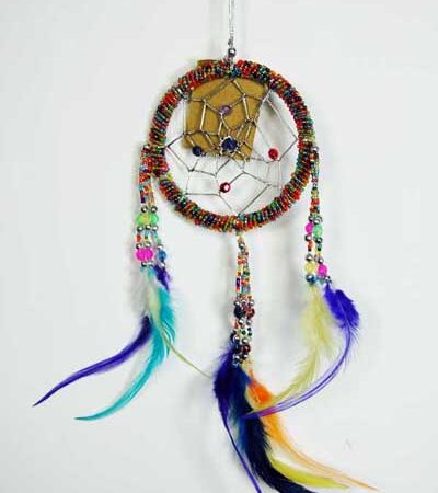 Rainbow Coloured Dream Catcher with Feathers Fair Trade