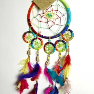 Rainbow Coloured Dream Catcher with Feathers
