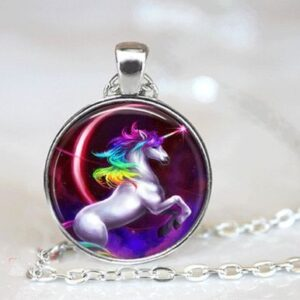 Cabachon Neckless Jewelry Rainbow Unicorn