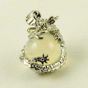 Precious Stone Neckless Moonstone ball with dragon