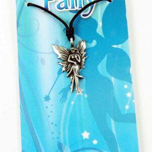 Pewter Pendant Fairy leather