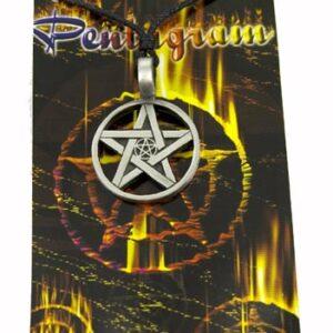 Pewter Pendant Pentagram Leather