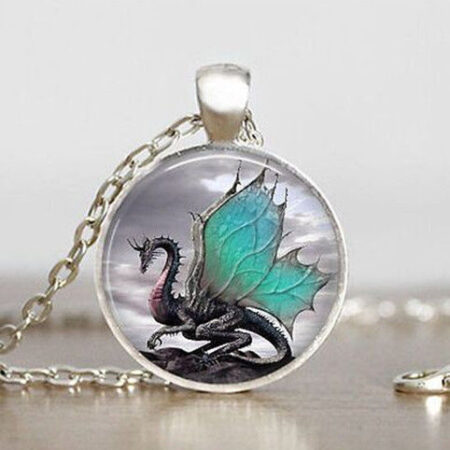 Cabachon Neckless Jewelry Green Dragon Wings