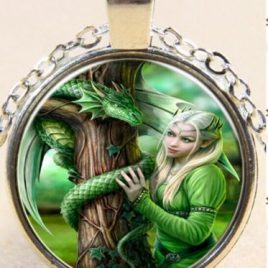 Cabochon, Dragon Green Fairy