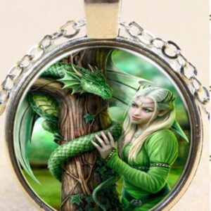 Cabachon Neckless Jewelry Green Pixie