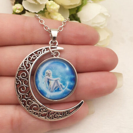Cabachon Neckless Jewelry Blue Fairy Moon
