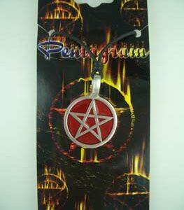 Pewter Pendant Pentagram Red