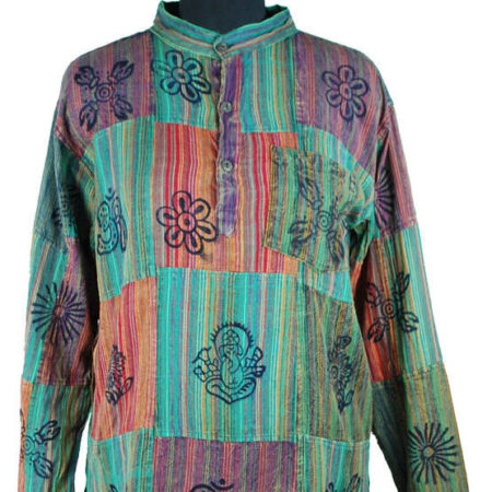 Patchwork Hoody Top Multi Coloured Purple Blue Red with Print
