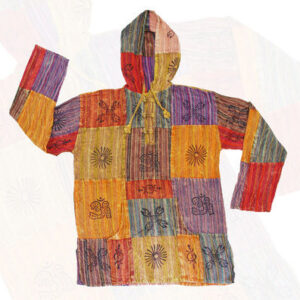 Patchwork Hoody Top Multi Coloured Red Yellow Purple Blue Red