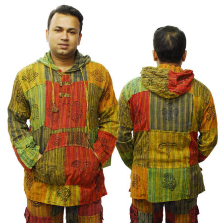 Patchwork Hoody Top Multi Coloured Green Red Yellow