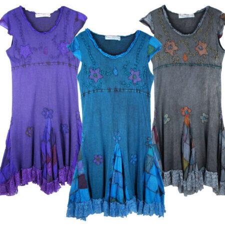 Pixie Dress Lace Short Sleeved Purple Blue Grey