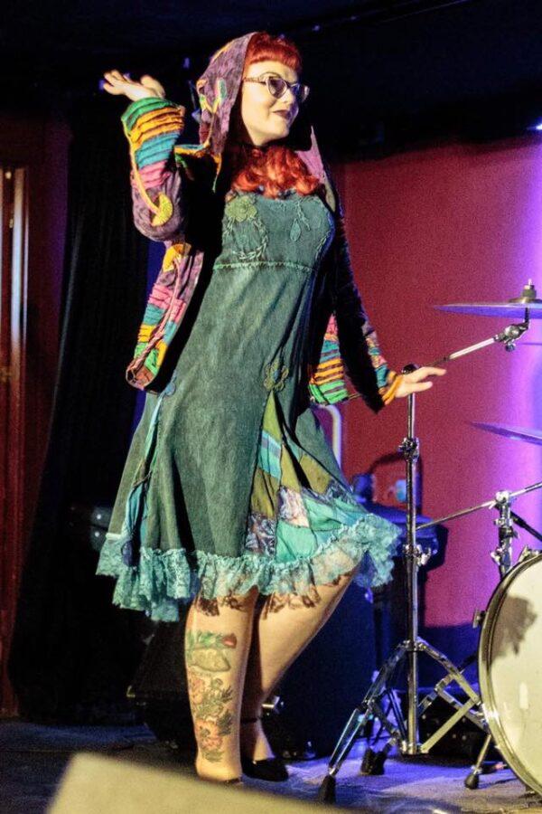 Pixie Dress Lace Short Sleeved Blue