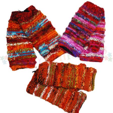 Woolly Hand Warmers Mits Orange Pink