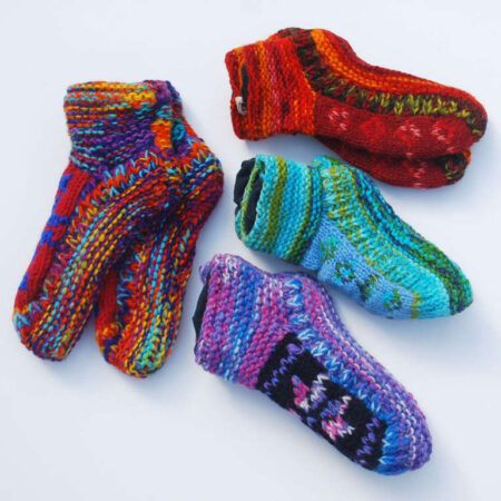 Woolly Socks Purple Red Blue Rainbow