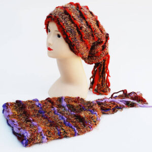 Woolly Beanie Hat with Tassles Orange Purple