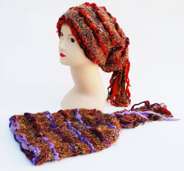 Woolly Beanie Hat with Tassles Orange Purple