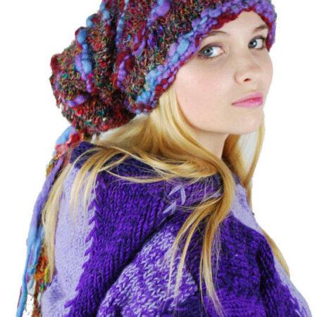 Woolly Beanie Hat with Tassles Purple