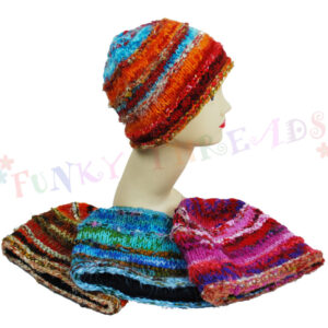 Woolly Beanie Hat Coloured Orange Brown Blue Pink