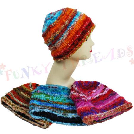 Woolly Beanie Hat Coloured Orange Brown Blue Pink