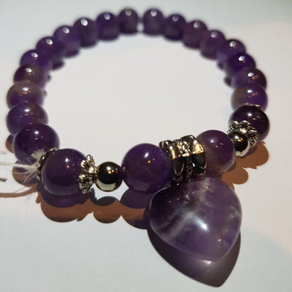 Amethyst bracelet with heart