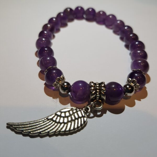 Amethyst bracelet with wing
